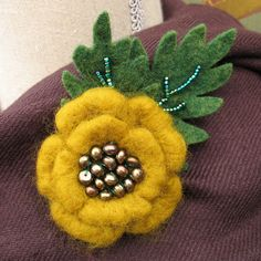 Green Button Mum Needle Felted Brooch Ready to Ship by AmbJewelry