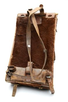 """Vintage Swiss Military Rucksack - Pony Fur Backpack c. 1920's - 30's, 20th century Bovine Fur, Leather, Metal 10.5""""w x 19""""h x 8""""d © Vintage Winter Museum This backpack was made in Switzerland for the"""