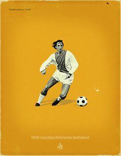Famous Footballers by Jon Rogers, via Behance  #soccer #poster #cruyff