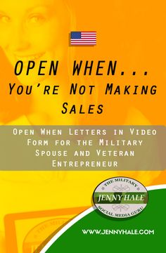 "OPEN WHEN....You're Not Making Sales In Your Business  Are you not meeting your sales goals? It takes time, but here are four of my tips that have helped me build a clientele base!   During a deployment, significant others send letters overseas called ""Open When"" letters. This is a take on those letters, but in video form for the military spouse and veteran entrepreneur.  You call get entrepreneur tips and marketing tips at www.facebook.com/themilitarysocialmediaguru every Sunday!"
