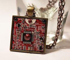 Circuit Board pendant - Motherboard Necklace - Computer jewelry - cyberpunk