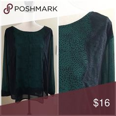 NWT Ann Taylor Lace Long Sleeve Top XL Ann Taylor lace long sleeve top. Lined. Green and black. Lace edged cuffs. Poly. Gorgeous! Brand new with tags!  Size XL Ann Taylor Tops Blouses