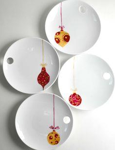Christmas Ornaments Round Appetizer Plates4 by MaryElizabethArts