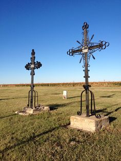 Iron crosses in the cemetery at Victoria