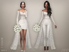 Wedding collection - Lorena for The Sims 4 by BEO Sims 4 Mods, Sims 4 Game Mods, Sims 4 Wedding Dress, Wedding Dresses, Sims 4 Dresses, Short Dresses, The Sims 4 Cabelos, Sims 4 Gameplay, Sims4 Clothes