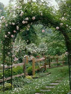 Lovely white and pink flowers going over the pergola arch!