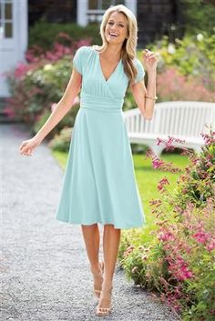 Really love the cut of this dress.  The color is a little light
