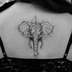 Best Elephant Back Tattoo - Best Elephant Tattoos: Cute Elephant Tattoo Designs and Cool Ideas Elephant Head Tattoo, Geometric Elephant Tattoo, Elephant Tattoo Design, Geometric Tattoo Design, Geometric Animal, Best Tattoos For Women, Trendy Tattoos, Unique Tattoos, Tattoos For Guys