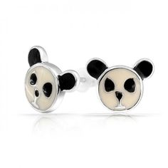Bling Jewelry Childrens Sterling Silver Black and White Panda Bear Stud Earrings