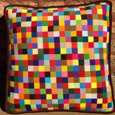 Needlepoint pillow. Finished and ready to be mesmerizing. #needlepointpillow