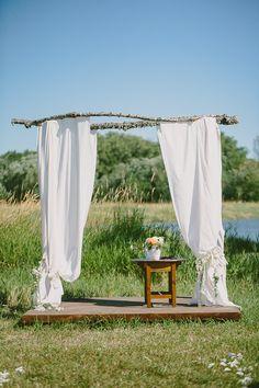 outdoor ceremony altar // photo by Paige Jones // http://ruffledblog.com/romantic-oregon-riverside-wedding