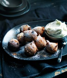 Sour cherry fritters with boozy mascarpone recipe   Gourmet Traveller recipe - Gourmet Traveller