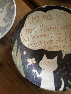Céramique chat by makoto kagoshima. Texte Antoine de Saint Exupéry