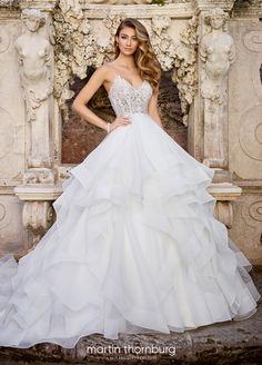 Mon Cheri Bridal offers wedding dress collections from designers like Martin Thornburg, Sophia Tolli, & more. Find your perfect ivory wedding dress! Ballroom Wedding Dresses, Wedding Dress Organza, Wedding Dresses With Straps, White Wedding Dresses, Designer Wedding Dresses, Bridal Dresses, Wedding Gowns, Lace Wedding, Mermaid Wedding