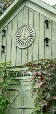 A Library of Design: Garden Party: One of the beautiful sage-colored outbuildings at Bunny Williams' weekender home in Connecticut. Looks like it could once have been a carriage house. Country Barns, Old Barns, Country Life, Green Barn, Green Gables, Exterior Paint, Exterior Colors, Cottage Style, Wood Cottage