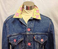 Levis Floral Embellished Denim Jean Jacket Turtle Pink Yellow Stripe Trucker USA #Levis #JeanJacket