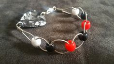 Guitar string bracelet with beads and guitar pick clasp by BHFGHM