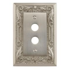 Floral Design Solid Brass Push Button Plate
