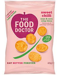 SWEET CHILLI CORN & SOYA CRISP THINS 23G  The Food Doctor Crisp Thins contain less than 99 calories per bag whilst also delivering high levels of protein (25%) & fibre. 80% of people eat too little fibre in their diet, so this is a delicious and healthy answer to that problem. Our Crisp Thins are also 50% lower in saturated fat than standard fried potato based crisp snacks.  SHOP: http://www.thefooddoctor.com/src/fdcom/SWEET-CHILLI-CORN-and-SOYA-CRISP-THINS-23G-PCTSWEETCHILLI/