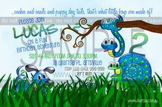 Snakes and Snails Childrens Birthday Invitations
