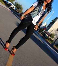 Project Social T-Shirt, J Brand Jeans, Charlotte Olympia Heels, Givenchy Clutch