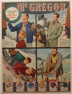 1940s McGregor Mens Clothing Fashion Illustration Vintage advertisement by Christian Montone, via Flickr