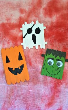 Popsicle Stick Monsters - Halloween Crafting with Kids - Halloween Crafts, Halloween Decorations, Halloween Costumes, Popsicle Sticks, Popsicles, Drink Sleeves, Create, Kids, Young Children