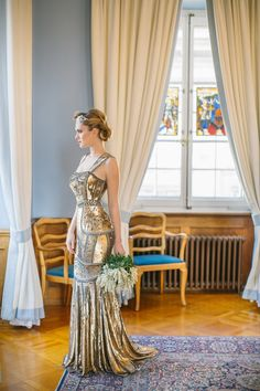 Gold vintage inspired gown. Mery's Couture. Photography: Sandra Marusic - www.sandramarusic.ch  Read More: http://www.stylemepretty.com/2014/05/19/peach-gold-luxury-wedding-inspiration/