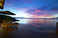 Sunset on private pool villas
