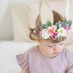 Flowers Crown Baby Newborn Photos New Ideas Bunny Ears Headband, Ear Headbands, Newborn Headbands, Floral Headbands, Felt Headband, Baby Newborn, Baby Girl Headbands, Flower Crown Hairstyle, Crown Hairstyles