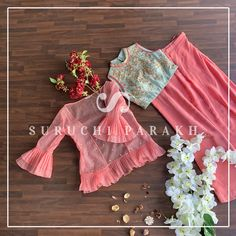 Our best organza jacket paired up with crop top and slit skirt Kids Party Wear Dresses, Kids Dress Wear, Kids Gown, Dresses Kids Girl, Indian Fashion Dresses, Indian Designer Outfits, Designer Dresses, Ankara Fashion, Baby Frocks Designs