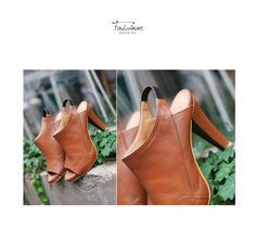 New Brown Open Toe Heel Custom Made Hand Made Natural Cow Leather Made To Order