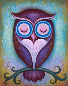 Sleepy Owl by Jeremiah Ketner for the Art Prints Purple Owl, Owl Always Love You, Owl Print, Owl Bird, Painting Inspiration, Painting & Drawing, Art Projects, Decoupage, Arts And Crafts