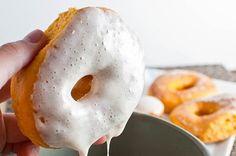sweet potato donuts with marshmallow cream glaze
