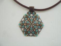 Miyuki Necklace-Geometric Pentagon pendant by gulum on Etsy