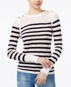Tommy Hilfiger Button-Shoulder Striped Sweater, Only at Macy's - White L