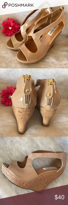 {Steve Madden} Wedges Excellent condition, rarely worn Steve Madden brand size 8 women's wedges. Nude color w/ cork-look 5 inch wedge and gold zipper closure at heel. Only flaw is slight scuff mark shown in side-view pic. All of my items come from my smoke-free home. Bundle and save!!! Steve Madden Shoes Wedges