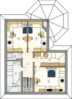 Rzut Mój Dom Oliwka CE Modern Bungalow House Plans, 2bhk House Plan, House Extensions, Projects To Try, Floor Plans, Flooring, How To Plan, Case, Daddy