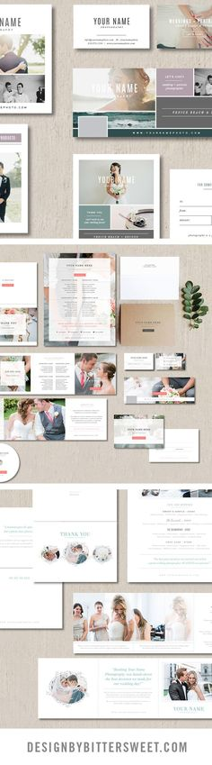 Photography templates for photographers. Branding materials created for wedding photographers. Designed by Bittersweet Design Boutique.