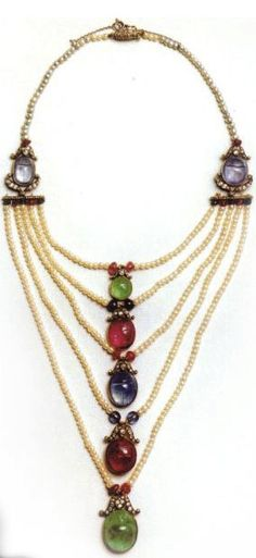 Crown Princess Margareta of Sweden's scarab necklace, made by Koch of Frankfurt, 1905. She had first met her husband, Prince Gustaf Adolf, in Egypt, and so this necklace, a wedding present from her new parents-in-law, Gustaf V of Sweden and Victoria of Baden, is a romantic reminder of their meeting. Image taken from Royal-magazin.de.