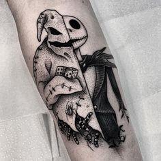 Jack/Oogie Boogie 👻🎃 Thank You! Tattoo Sketches, Tattoo Drawings, Body Art Tattoos, Tatoos, Cartoon Tattoos, Disney Tattoos, Dream Tattoos, Future Tattoos, Jack Tattoo