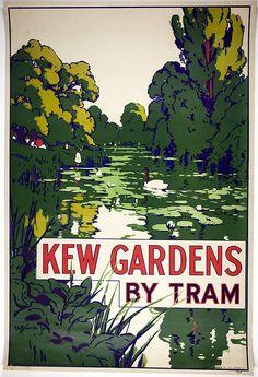 Kew Gardens By Tram, London, poster design Posters Uk, Railway Posters, Vintage Advertisements, Vintage Ads, Vintage London, Logo Garden, London Poster, Tourism Poster, Kew Gardens