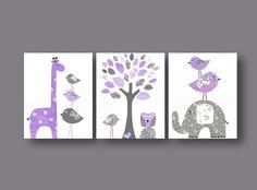 Baby nursery art, nursery wall art, nursery print, kids art, giraffe, elephant, tree, Birds, owl, purple, gray, Set of three 8x10 prints. $42.00, via Etsy.