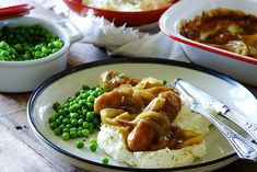 Hot Bangers and Mash with Onion Gravy and Peas