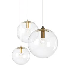 Suspension Luminaire Designer modern pendant light Minimalist Loft Casual clear glass Living Room Bedroom Round Ball - All For Decoration Modern Pendant Light, Glass Pendant Light, Modern Chandelier, Glass Pendants, Chandelier Lighting, Modern Lighting, Lighting Ideas, Modern Lamps, Industrial Lighting