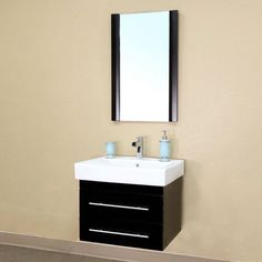 Bellaterra Padua 24.25-in. Black Single Bathroom Vanity with Optional Mirror - BTH098-
