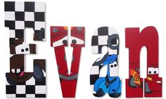 Hand Painted Disney Cars Inspired Wooden Wall Letters by ShannonsCustom on Etsy https://www.etsy.com/listing/183976654/hand-painted-disney-cars-inspired-wooden