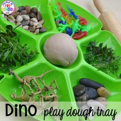 Dinosaur Themed Activities & Centers for Little Learners - Pocket of Preschool Dinosaur play dough tray plus tons of dinosaur themed activities & centers your preschool, pre-k, and kindergarten students will love! Eyfs Activities, Playdough Activities, Toddler Activities, Toddler Games, Counting Activities, Vocabulary Activities, Work Activities, Toddler Learning, Motor Activities