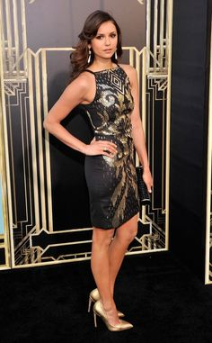 Actress Nina Dobrev in Versace Collection. Available at Elizabeth Anthony Esther Wolf!