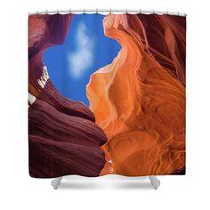 Orange And Blue Shower Curtain featuring the photograph Orange And Blue by Elena Chukhlebova #showercurtain #orange #bathroomdecor #antelopecanyon #antelope #canyon #bathroomdecor #accent #bathroomaccent #nature #photo #elenachukhlebova